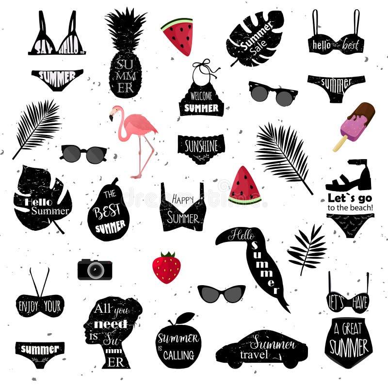 Plan designtrend Vektorbikinin, palmblad, tukanfågeln, flamingo, solglasögon, bilen, kvinnor head, fotokameran, vattenmelonkontur royaltyfri illustrationer