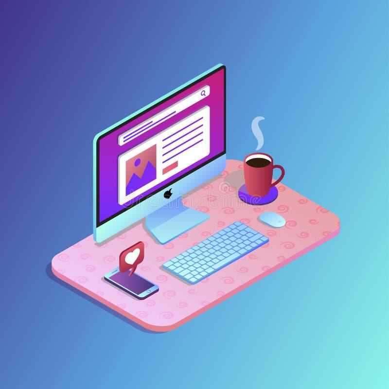 Plan designvektorillustration av den mobila och skrivbords- websitedesignen royaltyfri illustrationer