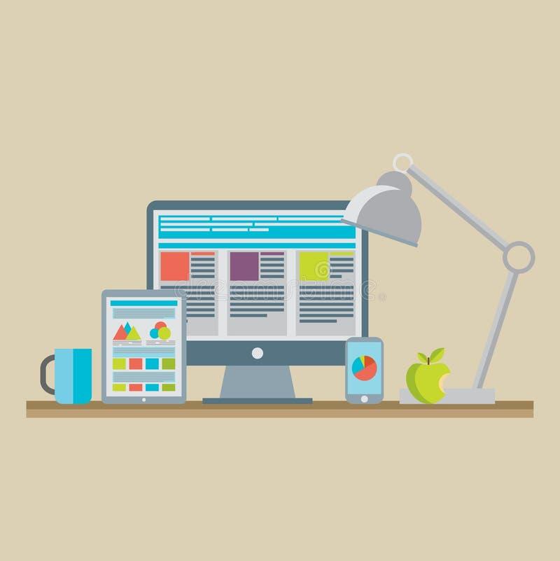 Plan designvektorillustration av den mobila och skrivbords- websiten vektor illustrationer