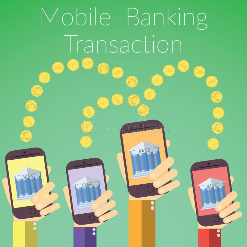 Plan designvektorillustration av händer som rymmer smarta telefoner med banksymbolen Begrepp för online-bankrörelsetransaktion, p vektor illustrationer