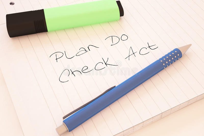 Plan Do Check Act. Handwritten text in a notebook on a desk - 3d render illustration stock illustration