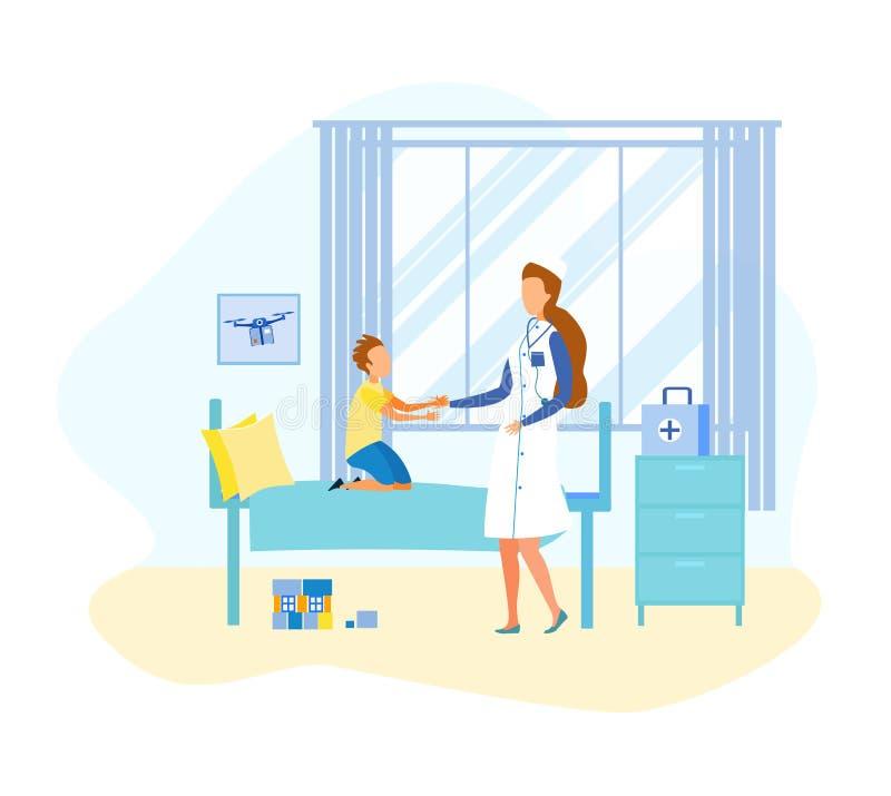 Plan doktor Visit Child för tecknad film i sjukhussal stock illustrationer