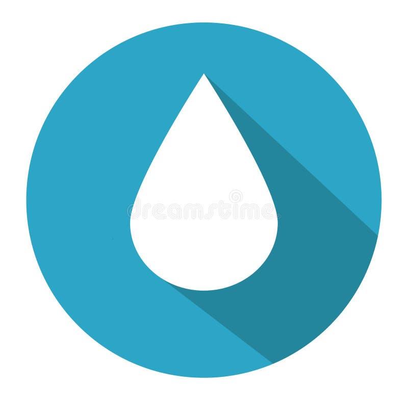 Plan droppe för vitt vatten för symbol i blåttcirkel stock illustrationer