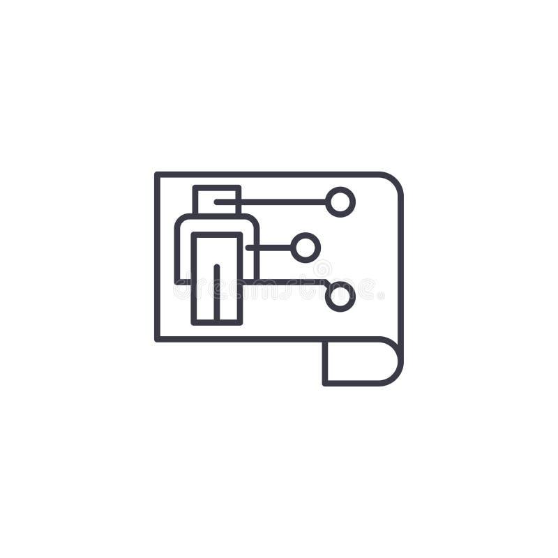 Plan du concept linéaire d'icône de robot Plan de la ligne signe de vecteur, symbole, illustration de robot illustration libre de droits