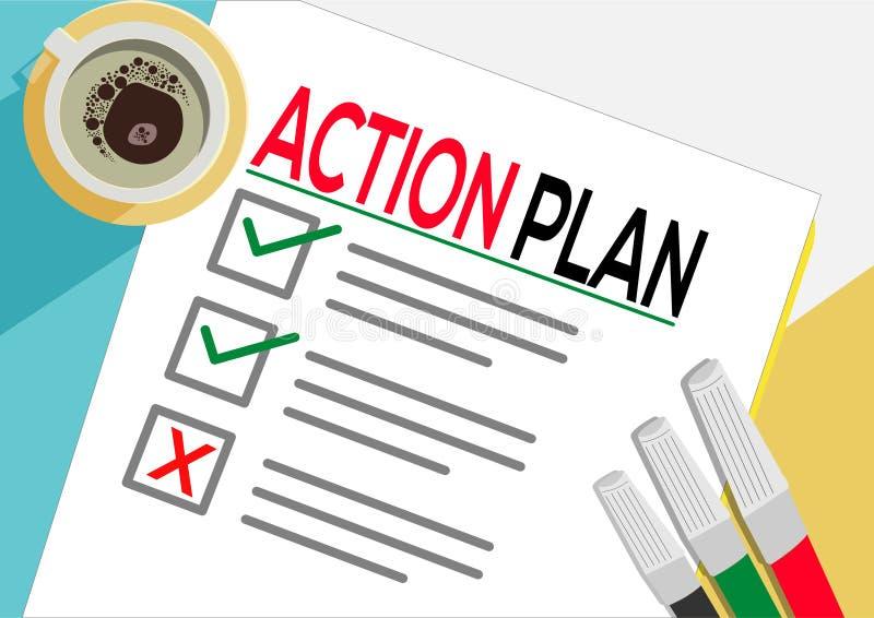 Plan Działania lub planowania ikony pojęcie Jeden zadanie nie udać się Papier ciąć na arkusze z czek ocenami, abstrakcjonistyczny royalty ilustracja