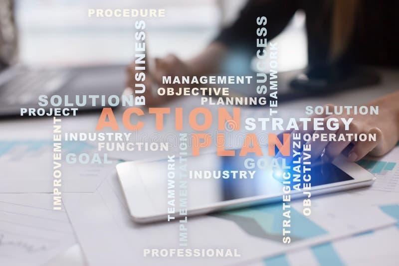 Plan działania na wirtualnym ekranie 3d pojęcia wizerunku planowanie odpłacał się rozmyta biznesowa ostrość inni czerwoni strateg obrazy stock