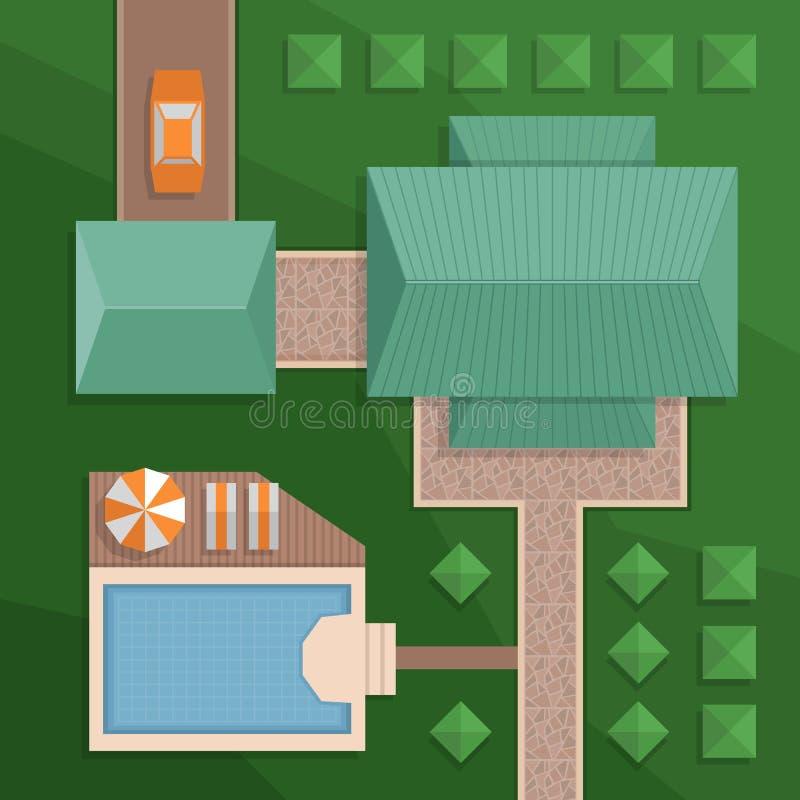 Plan een privé huis met een binnenplaats, een gazon en een pool Hoogste mening o royalty-vrije illustratie