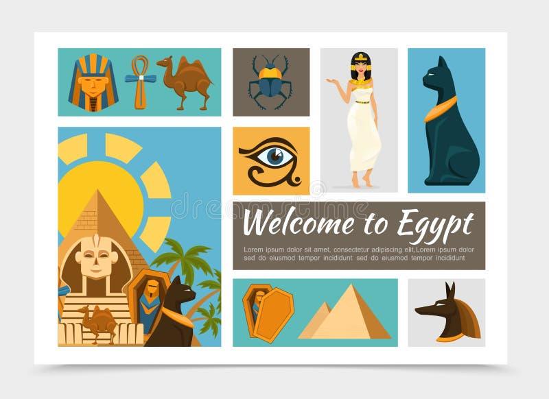 Plan Egypten beståndsdeluppsättning vektor illustrationer