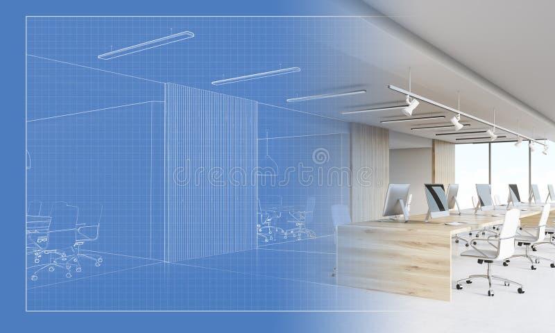 Plan eines werdenen Büros ein tatsächlicher Arbeitsplatz vektor abbildung