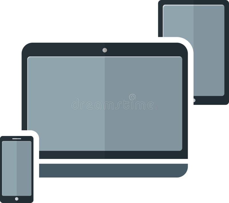 Plan elektronisk apparat vektor illustrationer