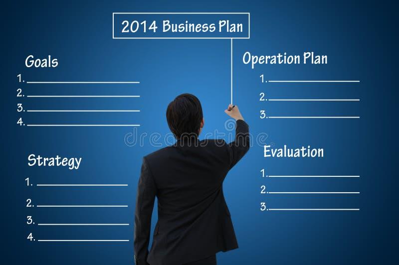 Plan empresarial 2014 con la carta en blanco imagen de archivo
