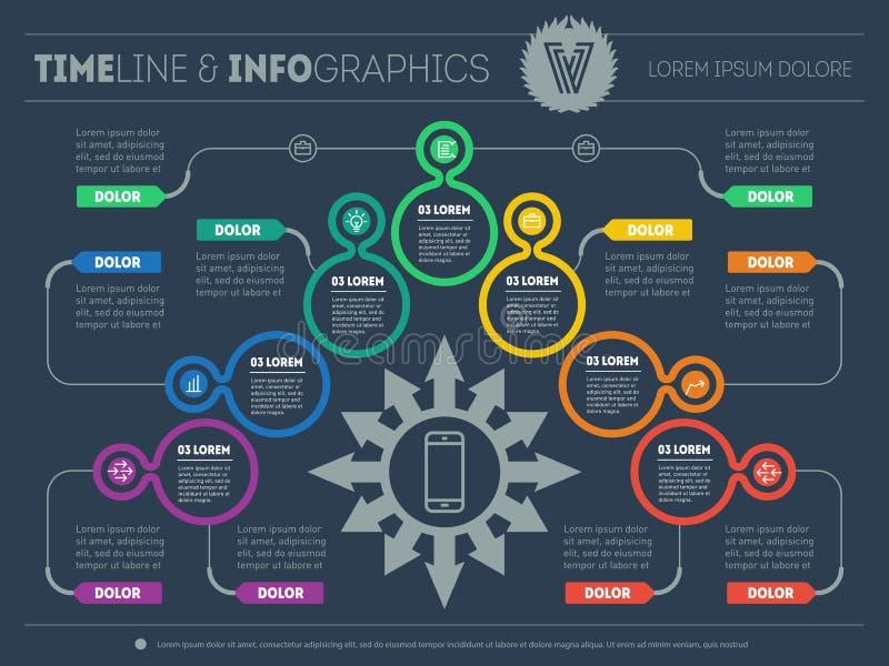 Plan empresarial con 7 pasos Infographic con los elementos del diseño VE stock de ilustración