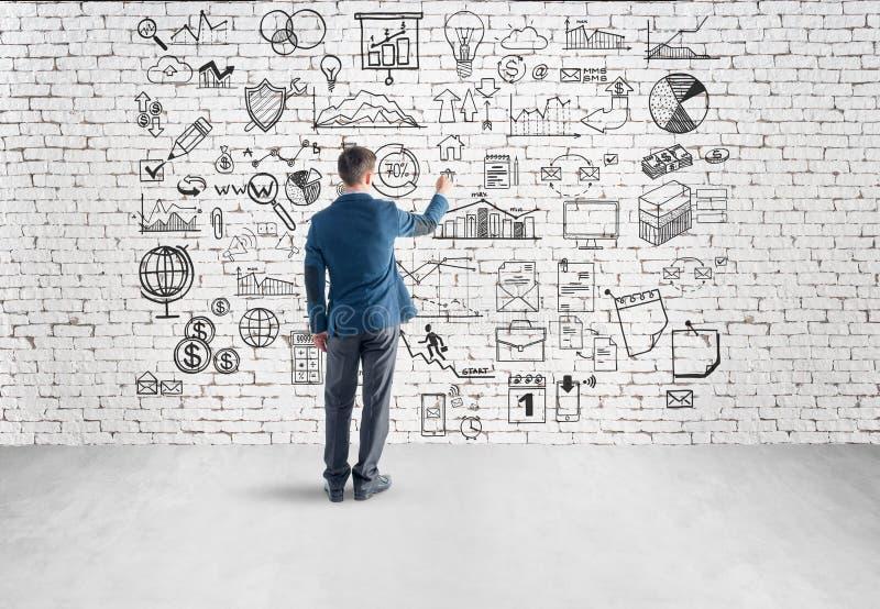 Plan empresarial del dibujo del hombre de negocios, gráfico, carta encendido foto de archivo