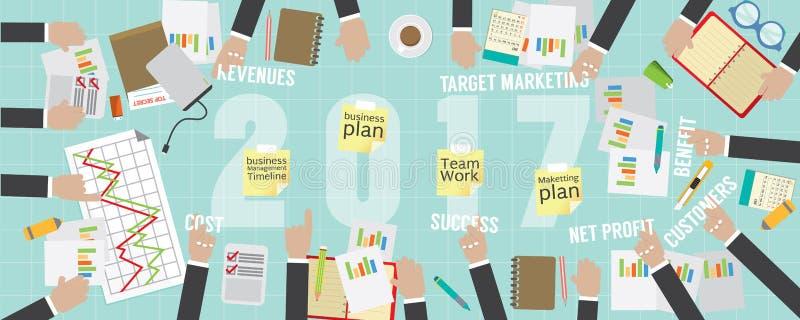 plan empresarial plano 2017 de la opinión del pixel 8000x3200 stock de ilustración