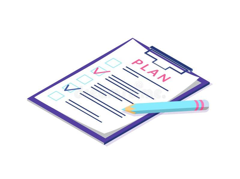 Plan en la página del tablero, de la pluma y de la documentación libre illustration