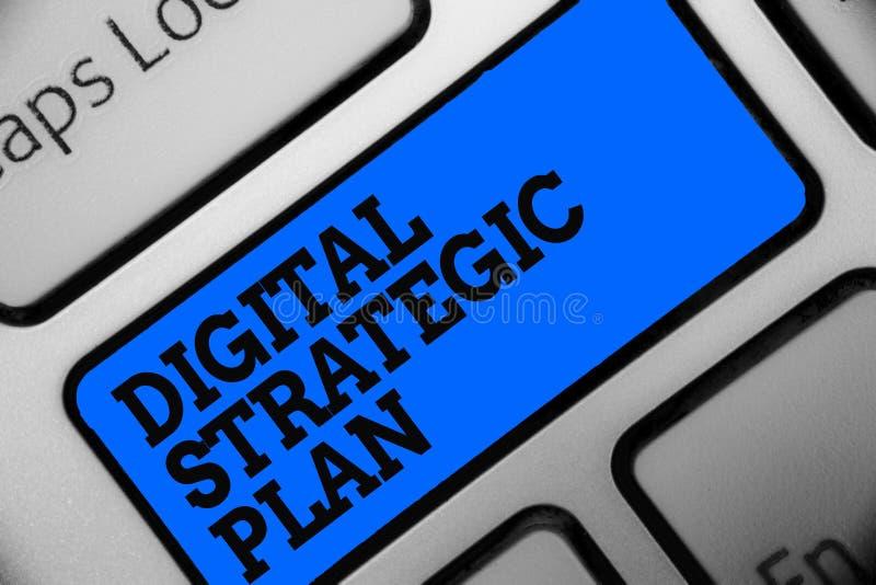 Plan estratégico de Digitaces del texto de la escritura de la palabra Concepto del negocio para crear el horario para el ordenado fotografía de archivo