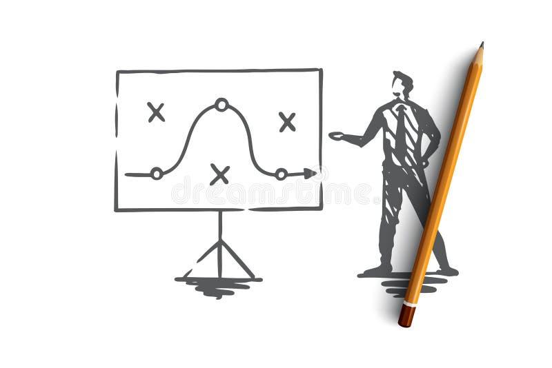 Plan, estrategia, márketing, proyecto, concepto de la táctica Vector aislado dibujado mano stock de ilustración