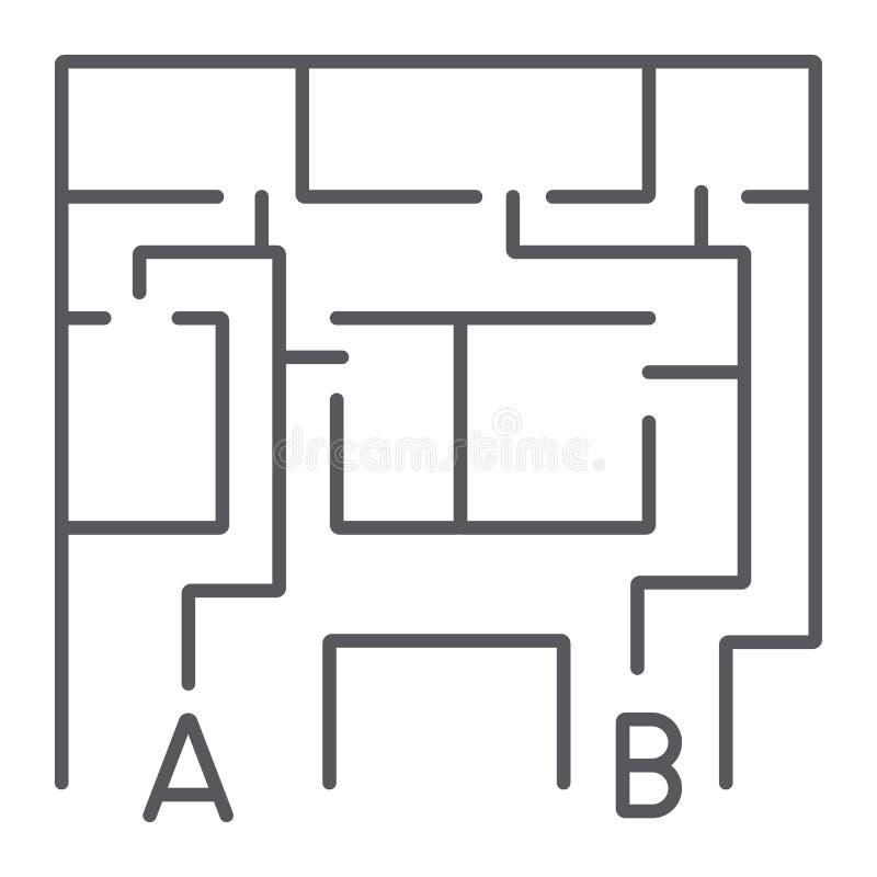 Plan ewakuacyjny cienka kreskowa ikona, ewakuuje i nagły wypadek, pożarniczej ucieczki planu znak, wektorowe grafika, liniowy wzó ilustracja wektor