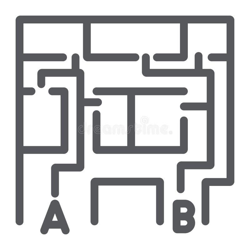 Plan ewakuacyjny kreskowa ikona, ewakuuje i nagły wypadek, pożarniczej ucieczki planu znak, wektorowe grafika, liniowy wzór na bi ilustracji