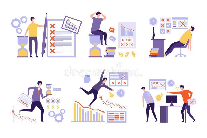 Plan fällt aus Über viel Aufgaben organisierte schlechtes Management nicht Geschäftsleute Überstundenarbeitzeitplan-Vektorkonzept stock abbildung