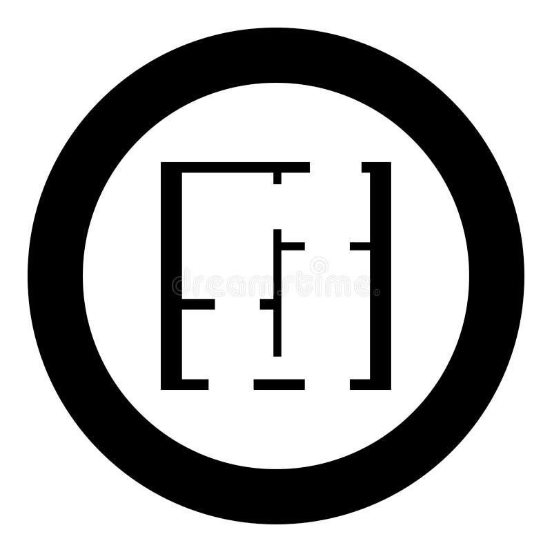 Plan färg för svart för projektlägenhetsymbol i cirkel royaltyfri illustrationer