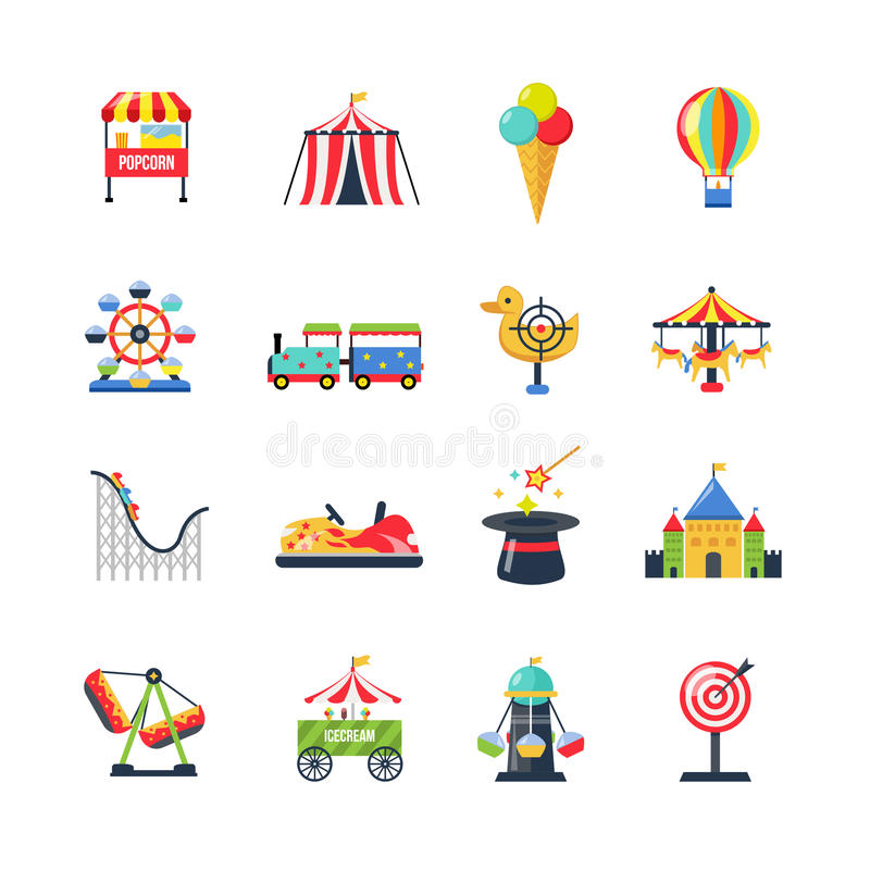 Plan färg isolerade nöjesfältsymboler royaltyfri illustrationer