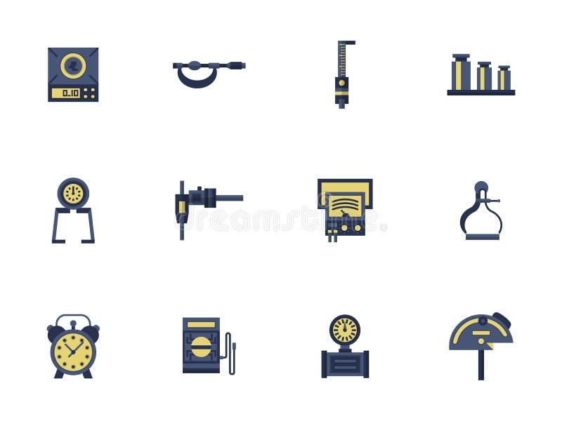 Plan färgdesign som mäter apparatsymboler royaltyfri illustrationer