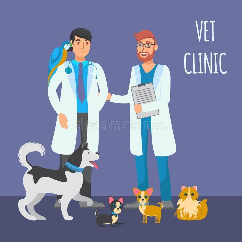 Plan färgillustration för veterinär- konsultation stock illustrationer