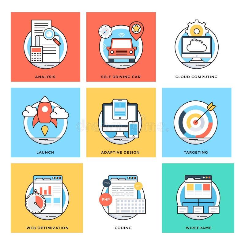 Plan färglinje symboler 8 för vektor för designbegrepp royaltyfri illustrationer