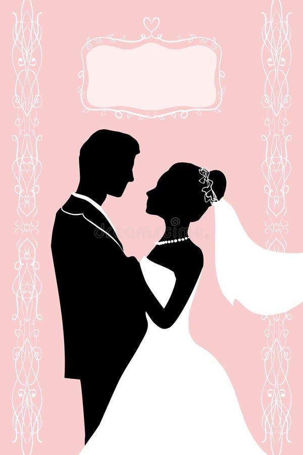 Plan färgpulverkonturbrud och brudgum - bröllopvektorinbjudan stock illustrationer