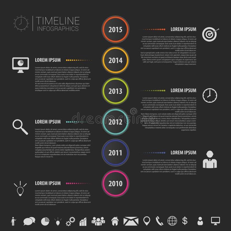 Plan färgrik abstrakt timelineinfographicsvektor med symboler royaltyfri illustrationer