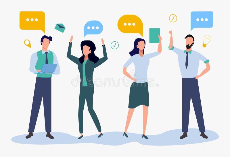 Plan färgrik stil, affärsmän diskuterar idérika idéer för affären, nyheterna, sociala nätverk, pratstund ocks? vektor f?r coreldr royaltyfri illustrationer
