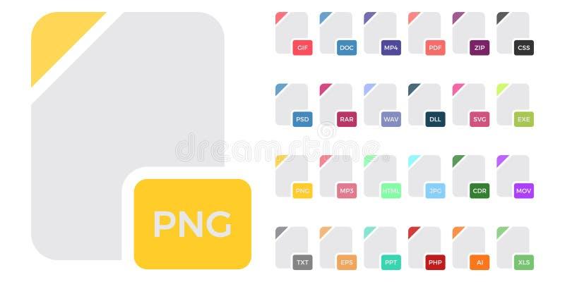 Plan färgrik uppsättning för symboler för vektormappformat som isoleras på vit, symboler för lägenhet för dokumenttyp Symboler fö stock illustrationer