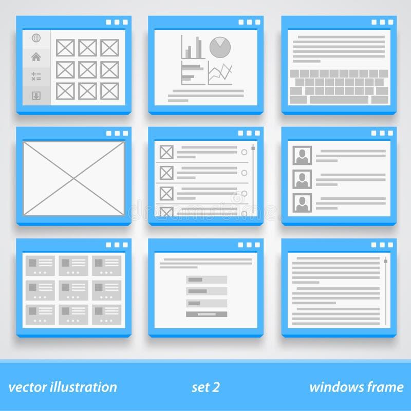 Plan fönsterram 2 inställda prydnadar vektor illustrationer