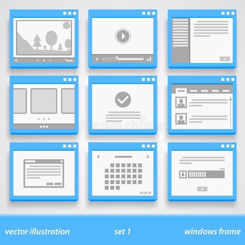Plan fönsterram Uppsättning 1 stock illustrationer