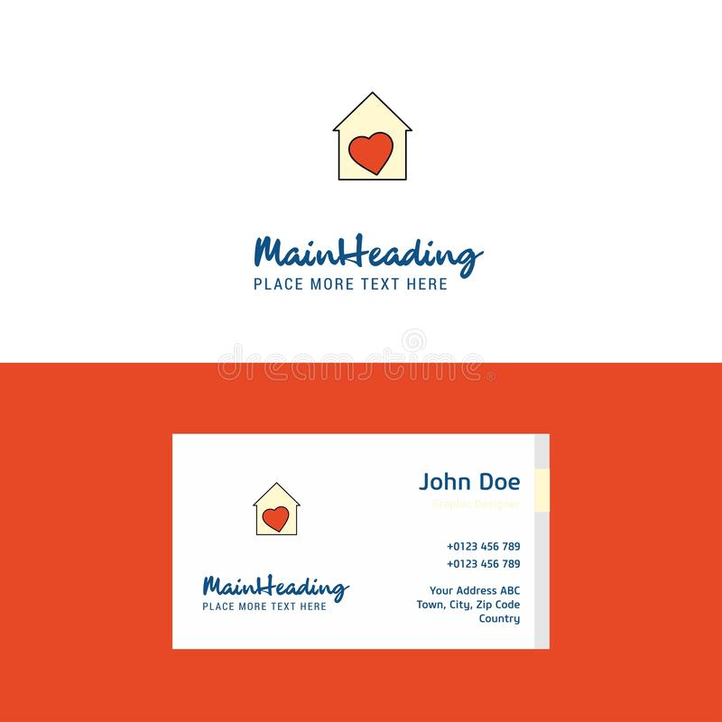 Plan förälskelsehuslogo och visitkortmall Busienss begrepp Logo Design stock illustrationer