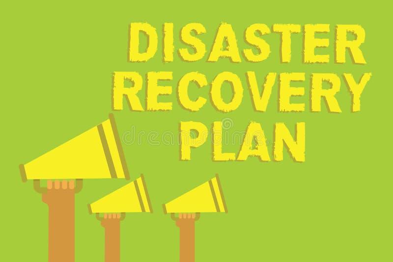 Plan för återställning för katastrof för ordhandstiltext Affärsidé för att ha reserv- mått mot solitt högt för farligt läge tre stock illustrationer
