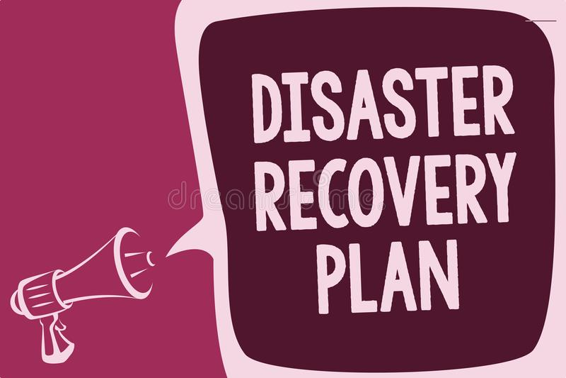 Plan för återställning för katastrof för ordhandstiltext Affärsidé för att ha reservmått mot det farliga läget som anmäler thinki royaltyfri illustrationer