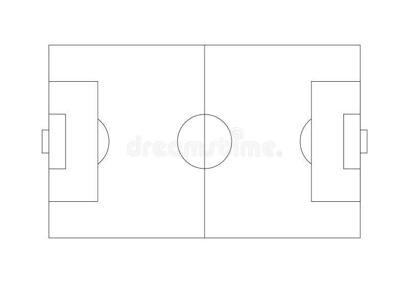 Plan för översikt för fotbollfält royaltyfri illustrationer