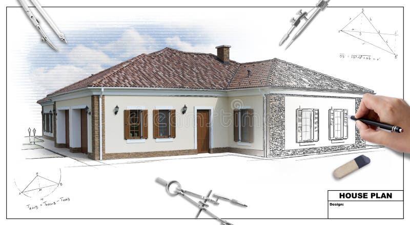 plan för 2 hus fotografering för bildbyråer