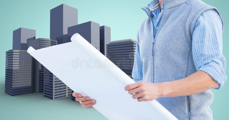 Plan för arkitektTorso innehav mot byggnadssymboler vektor illustrationer