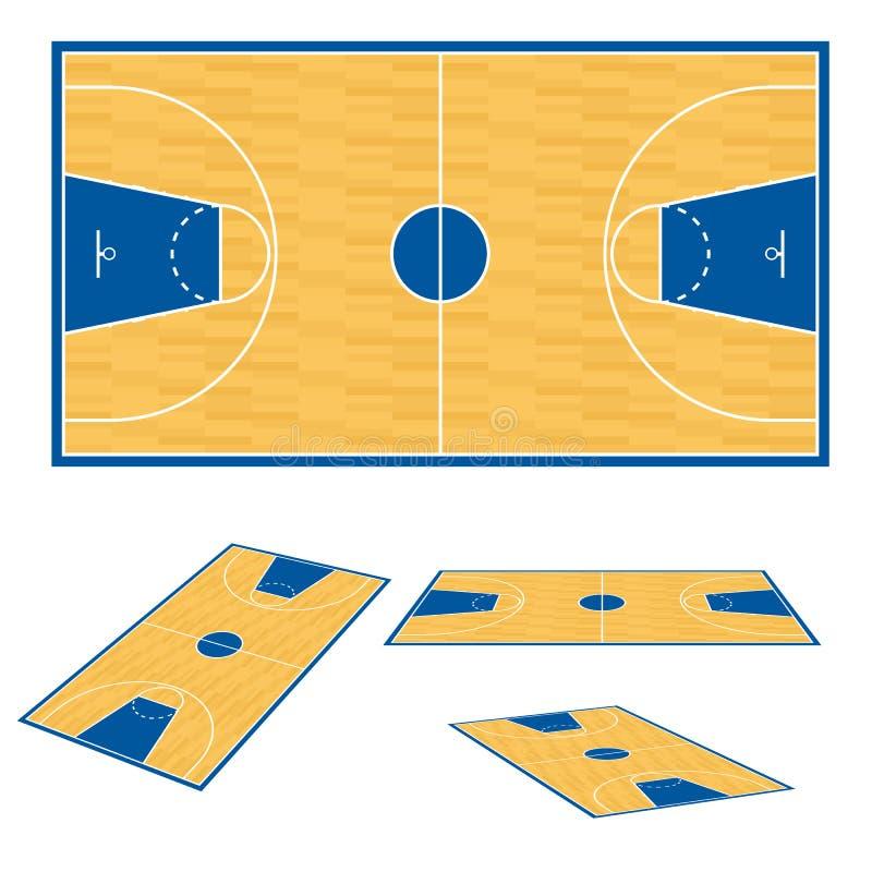 plan för basketdomstolgolv stock illustrationer