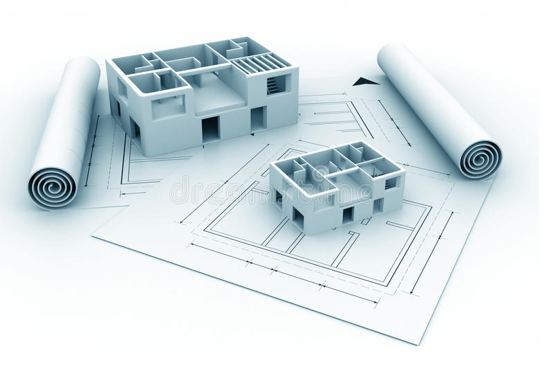 plan för blått tryck för hus för arkitektur 3d royaltyfri illustrationer