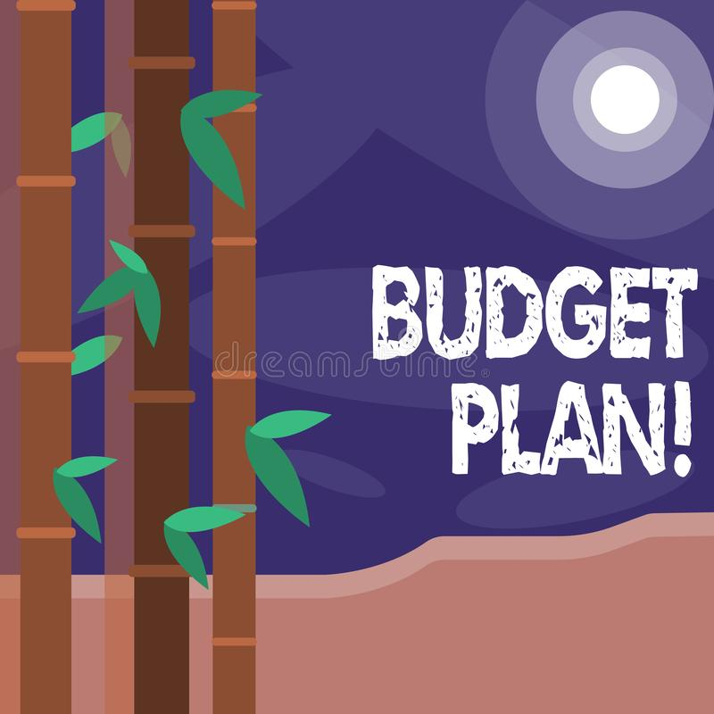 Plan för budget för ordhandstiltext Affärsidé för bedömning av inkomst och förbrukning för den färgrika fastställda tidsperioden vektor illustrationer