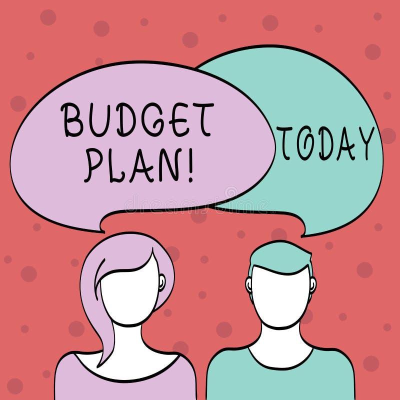 Plan för budget för ordhandstiltext Affärsidé för bedömning av inkomst och förbrukning för fastställt tidsperiodmellanrum royaltyfri illustrationer