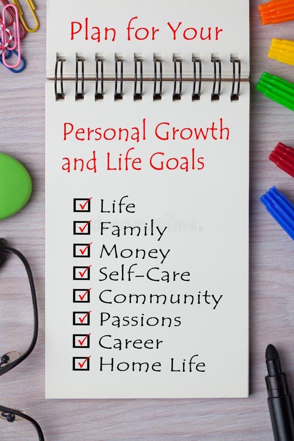 Plan för dina personliga tillväxt- och livmål royaltyfria bilder