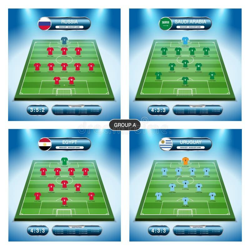 Plan för fotbolllagspelare Gruppera A med flaggor RYSSLAND, SAUDIARABIEN stock illustrationer