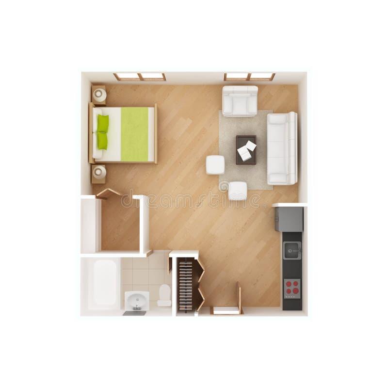Plan för golv för studiolägenhet som isoleras på vit stock illustrationer
