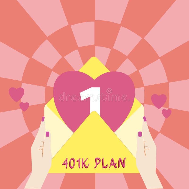 Plan för handskrifttext 401K Sponsrade den kvalificerade arbetsgivaren för begreppsbetydelsen avgångplan att anställda gör kvinnl royaltyfri bild