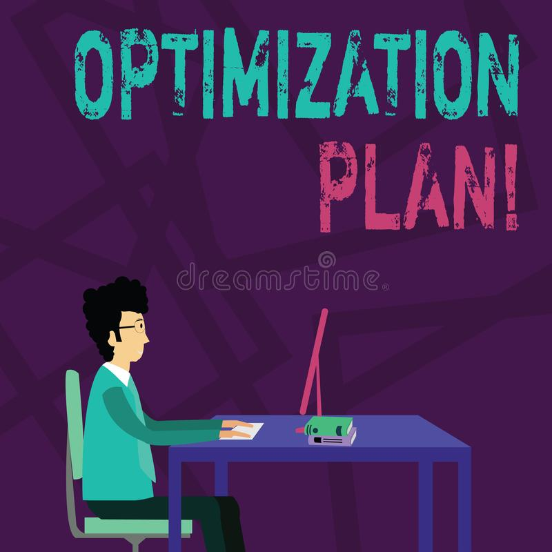 Plan för handskrifttextOptimization Begreppsbetydelse som finner ett alternativ med den mest kostnaden - effektiv affärsman stock illustrationer